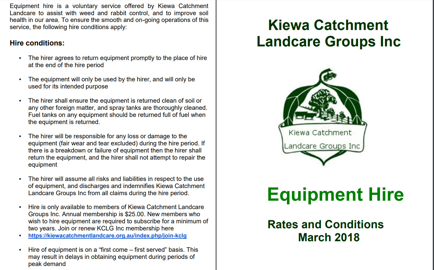 equipment hire brochure page1
